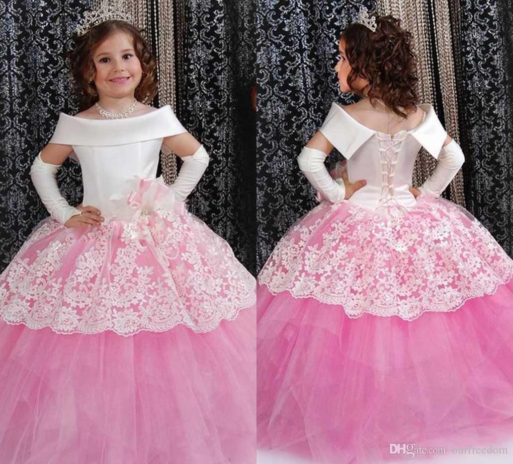 2016 pink puffy toddler ball gown flower girl dresses off the 2016 pink puffy toddler ball gown flower girl dresses off the shoulder lace pageant dress for izmirmasajfo