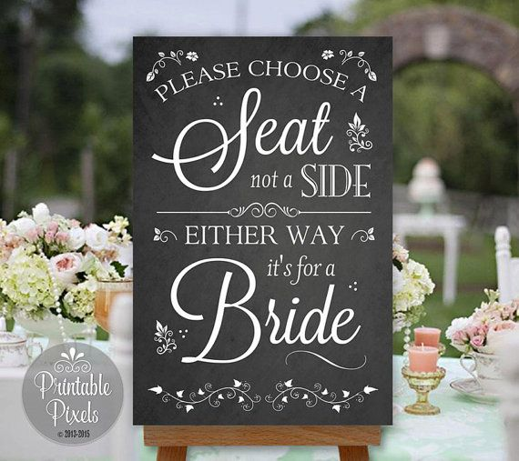Choose A Seat Not Side Printable Wedding Sign Chalkboard Style Same An No Seating Plan Nsp10c
