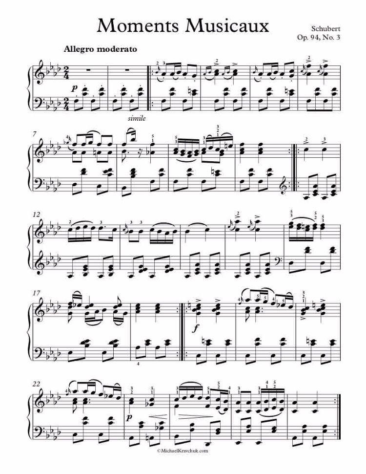 Moment Musicaux, Op. 94, No. 3 (Piano Score)
