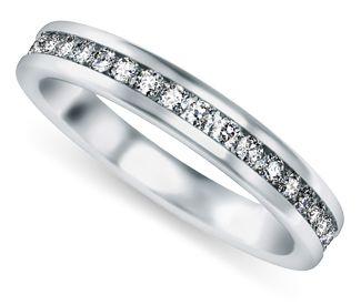 Channel Diamond Wedding Ring In White Gold Twenty One Round Cut Diamonds Are