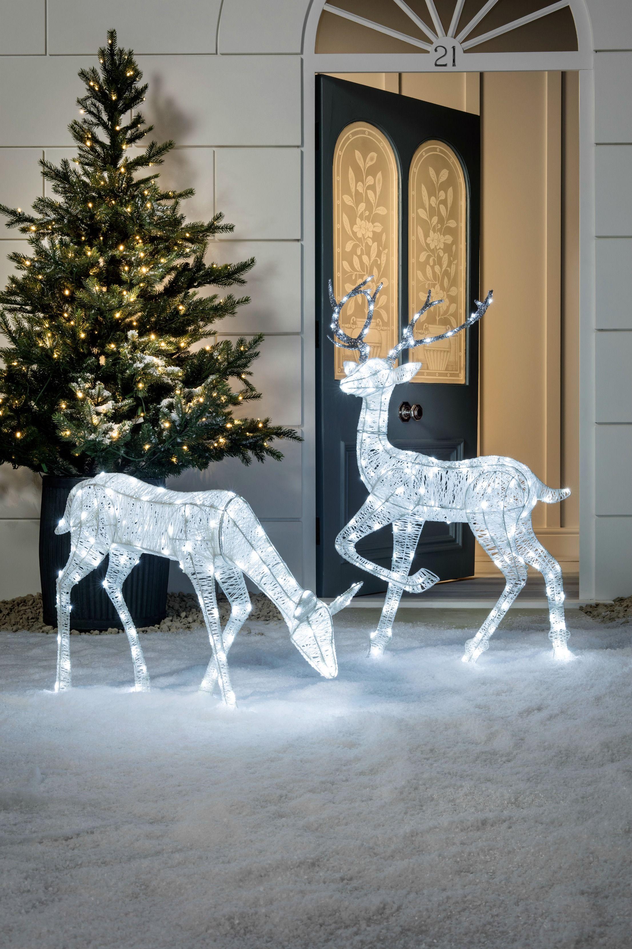 Glitter reindeer christmas figure reindeer lights for Outdoor deer christmas decorations