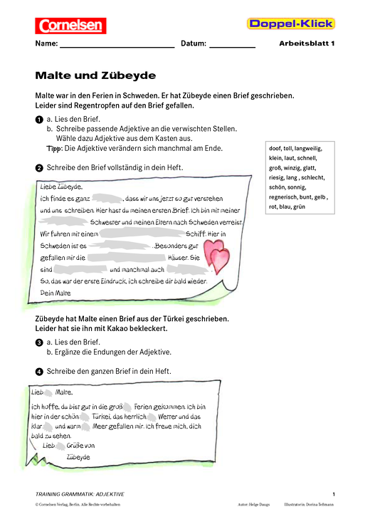 Grammatikübung Zu Adjektiven Malte Und Zübeyde