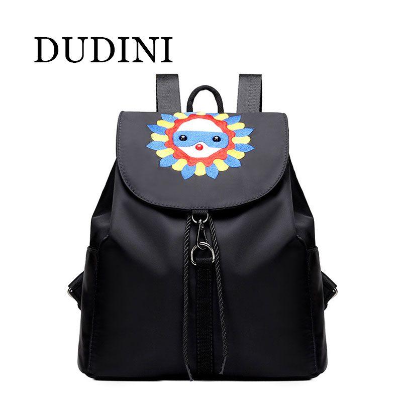 86b5c83a60 DUDIN Women Backpack Lovely Printing Backpack Nylon Material Notebook  Backpack Shoulders Bag For Girls Kids Black