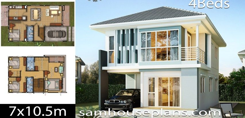 House Design Idea 7x10 5 With 4 Bedrooms Sam House Plans House Layout Plans House Plans House Design