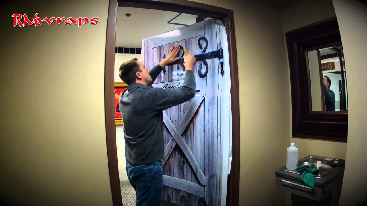 How To Install A Cowboy Restroom Door Wraps Rm Wraps .com #door Wraps #