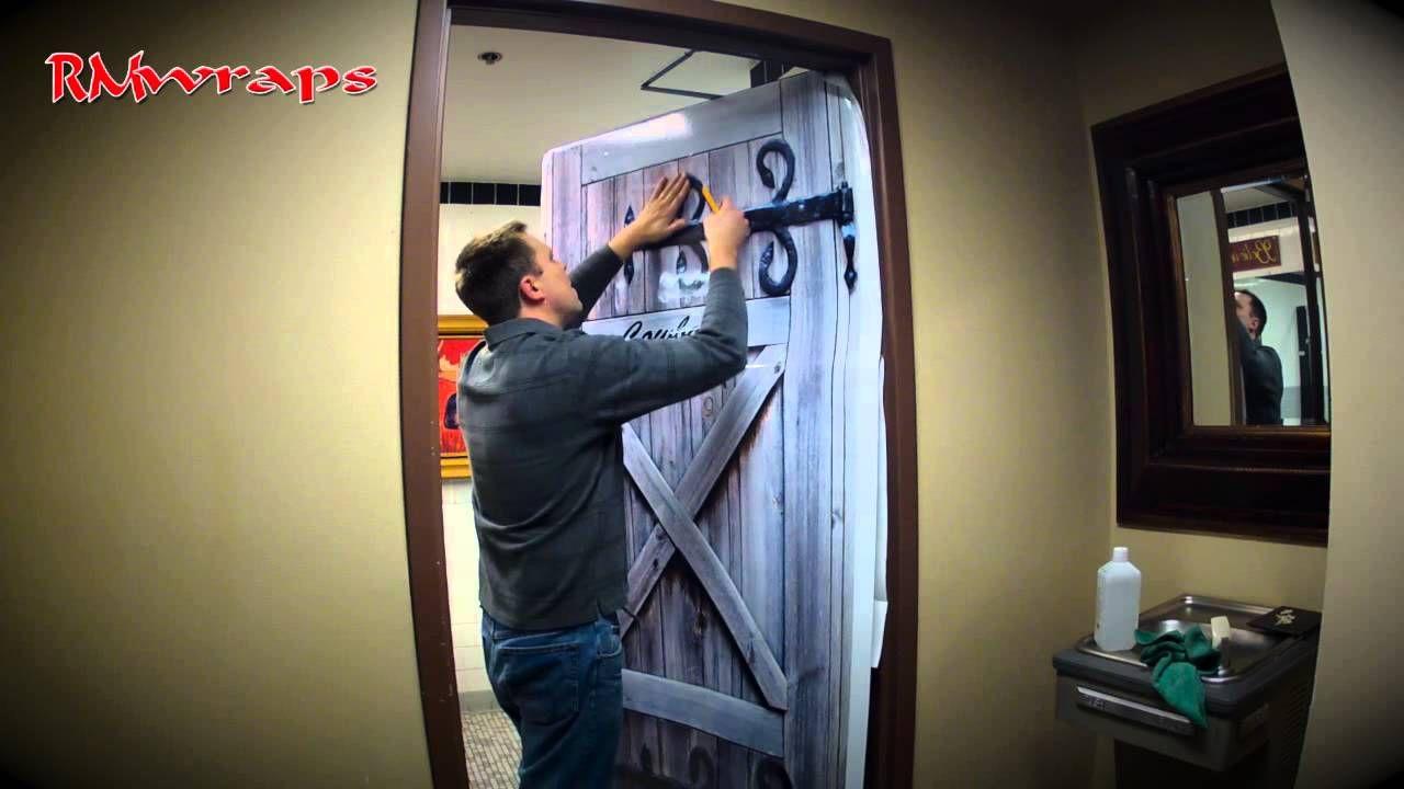 Door Wraps How To Install A Cowboy Restroom Door Wraps Rm Wraps Com Door