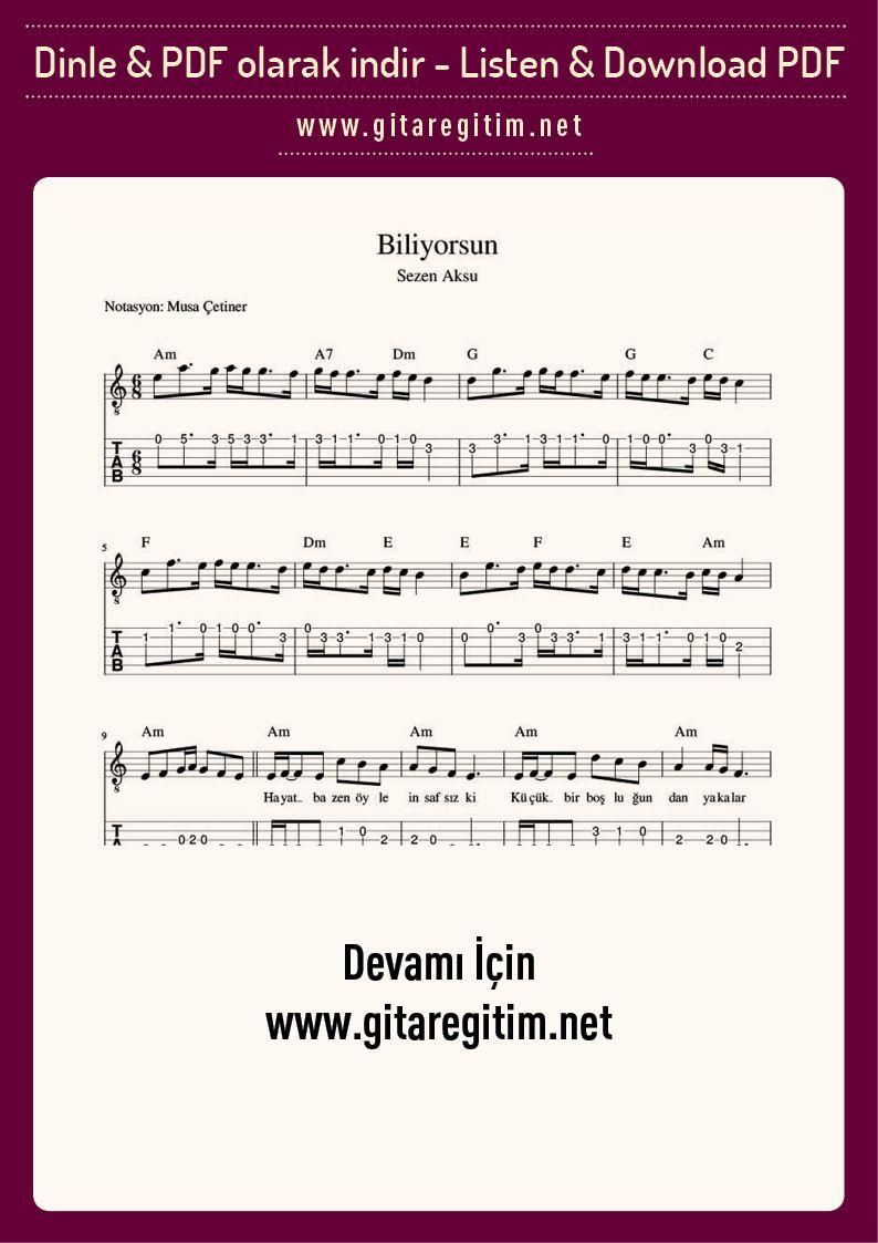 Biliyorsun Gitar Nota Tab Gitaregitim Net Notalara Dokulmus Muzik Muzik Egitimi Muzik