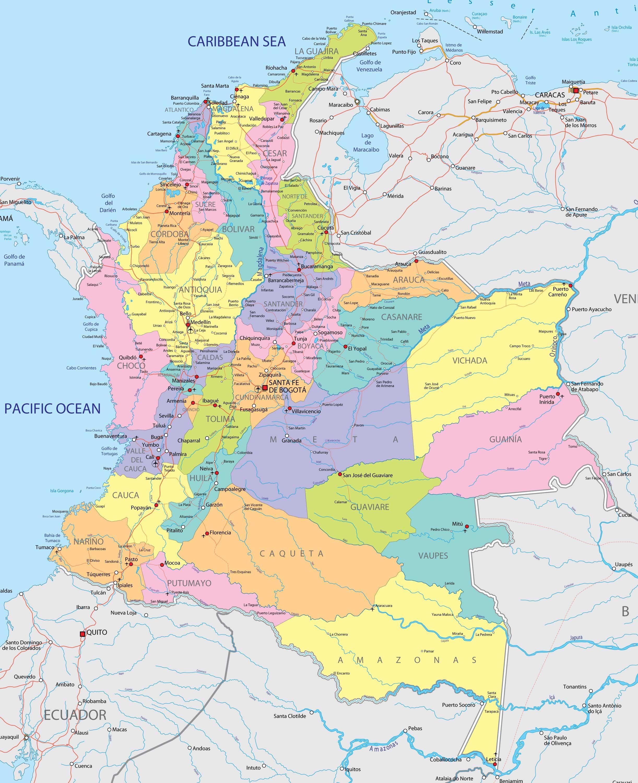 columbian vaupes political large size Mapas Pinterest
