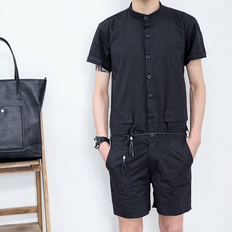 WUAI Mens Rompers Jumpsuits Cotton One Piece Short Sleeve Shirt Drawstring Shorts Casual Plain Overalls Jumpsuit