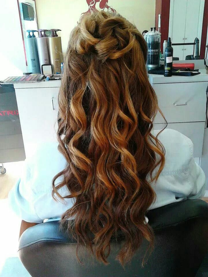 Prom Style - Cascade curls half up with curl bun | Long hair styles, Hair, Hair styles