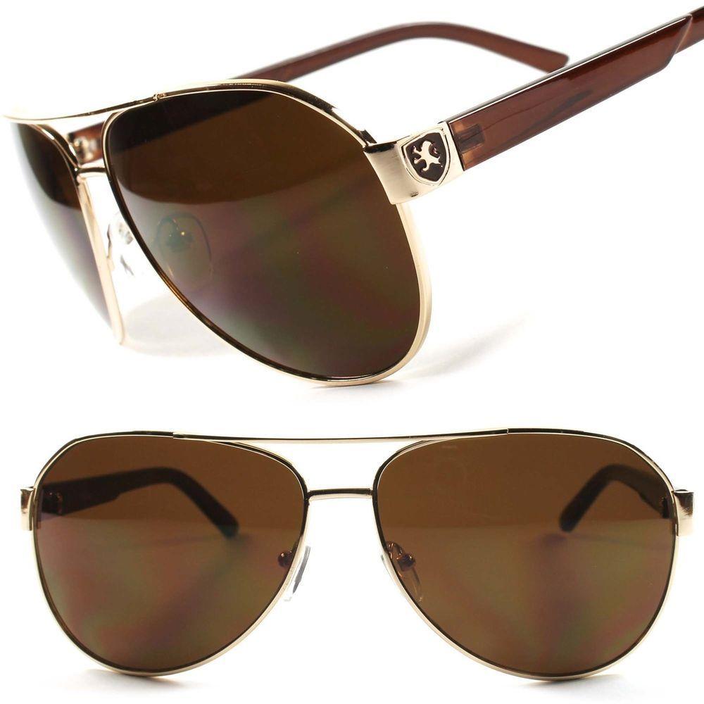 mens black aviator sunglasses upzm  Fancy Khan Gold Stylish Classic Retro Black Aviator Mens Womens Sunglasses  B61C
