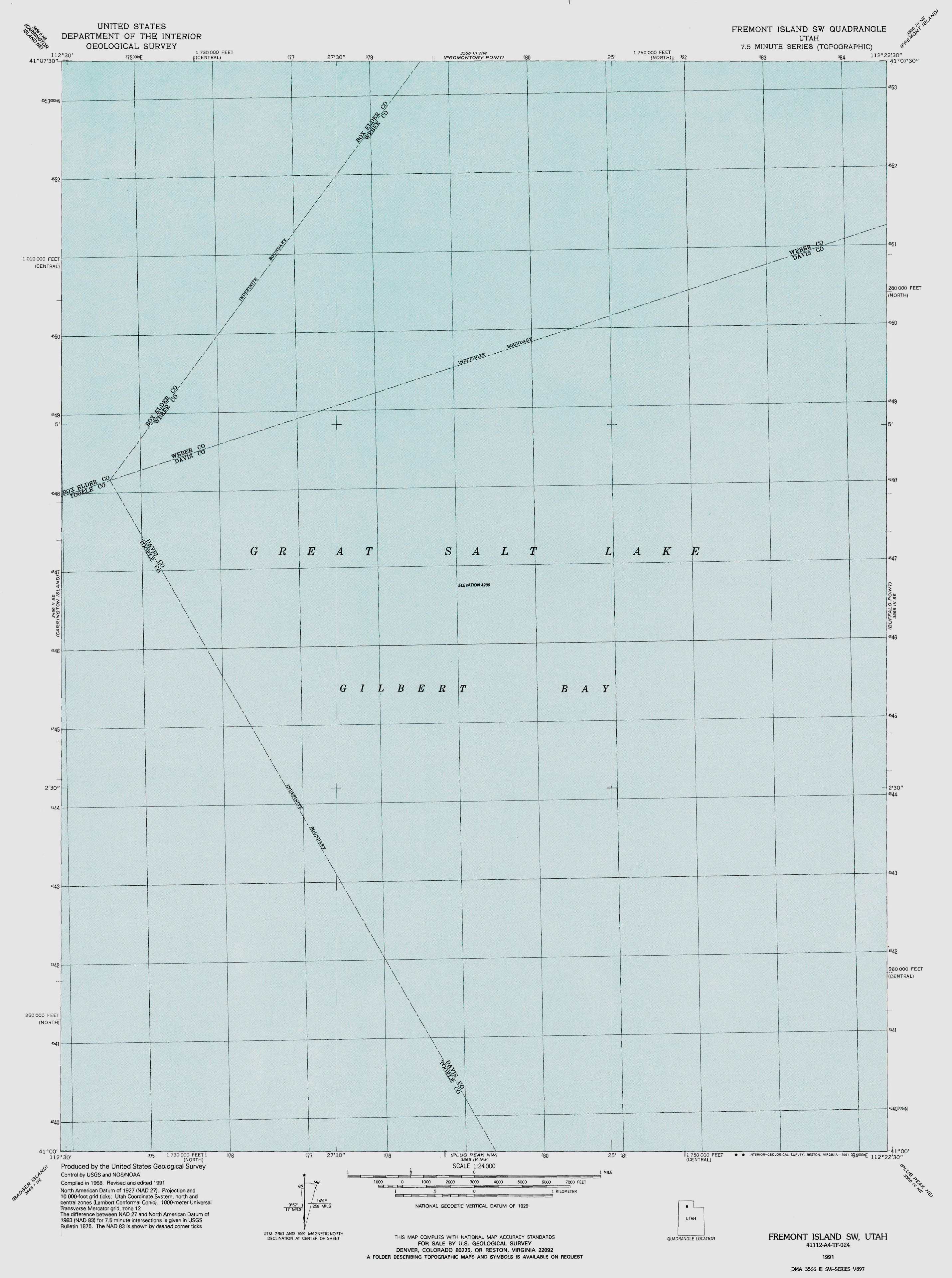 map of the Great Salt Lake by the US Geological Survey 1968 Grid