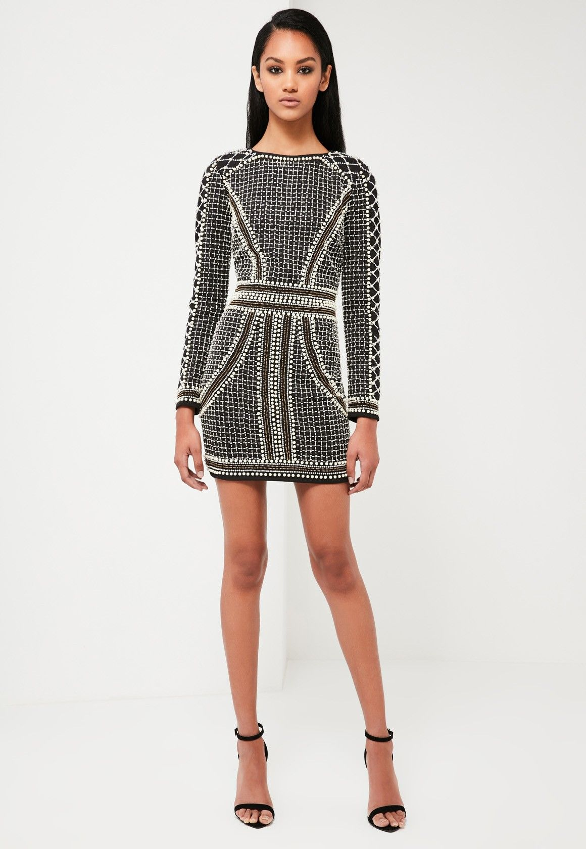 537d687a1153f Missguided - Peace Love Black Embellished Long Sleeve Dress ...