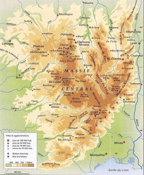 Relief Auvergne Jpg 500 610 Pixels Massif Central Carte De France