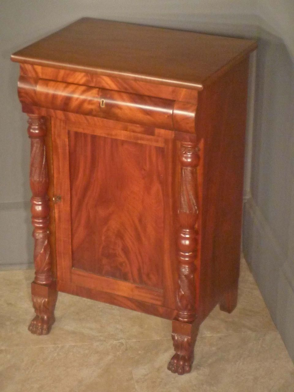 Empire Mahogany End Table Stand Commode Antique Furniture