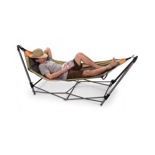 Portable Folding Hammock Stand Carry Bag Camping Travel Backyard