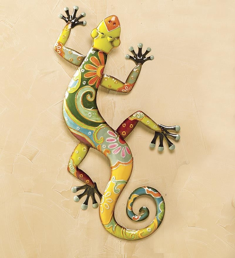 Talavera Painted Metal Gecko Wall Art | Deck & Patio Accents ...