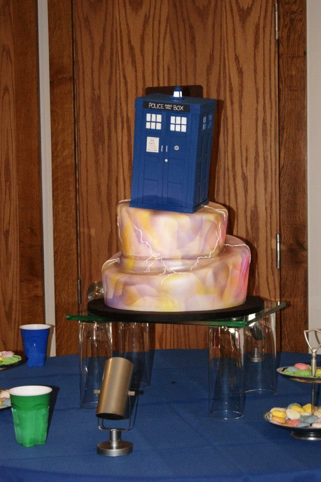 The TARDIS cake from my wedding. IT was amazing.