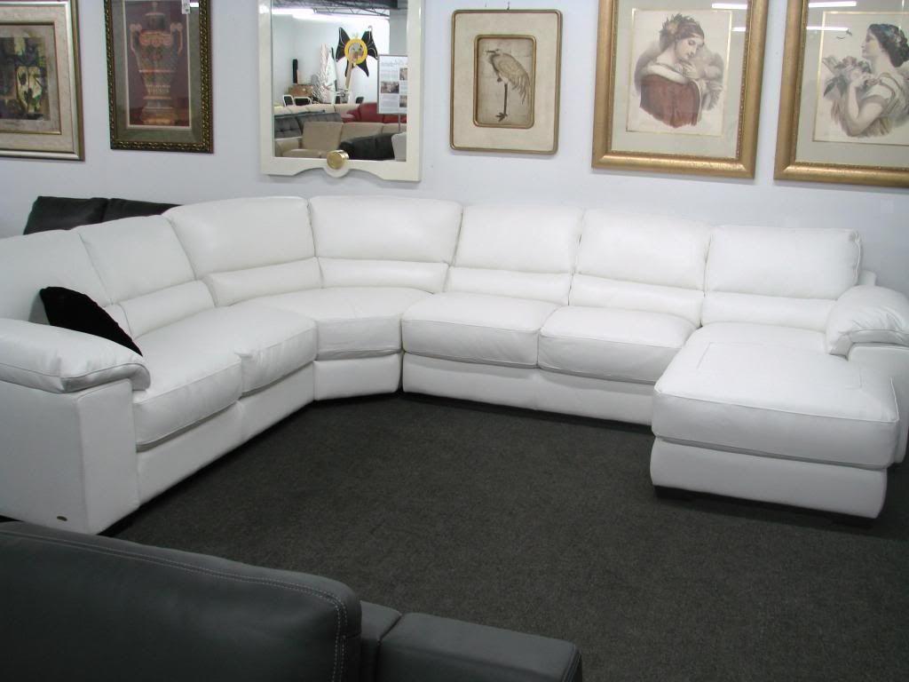 Natuzzi Milano I213 White Leather Sectional
