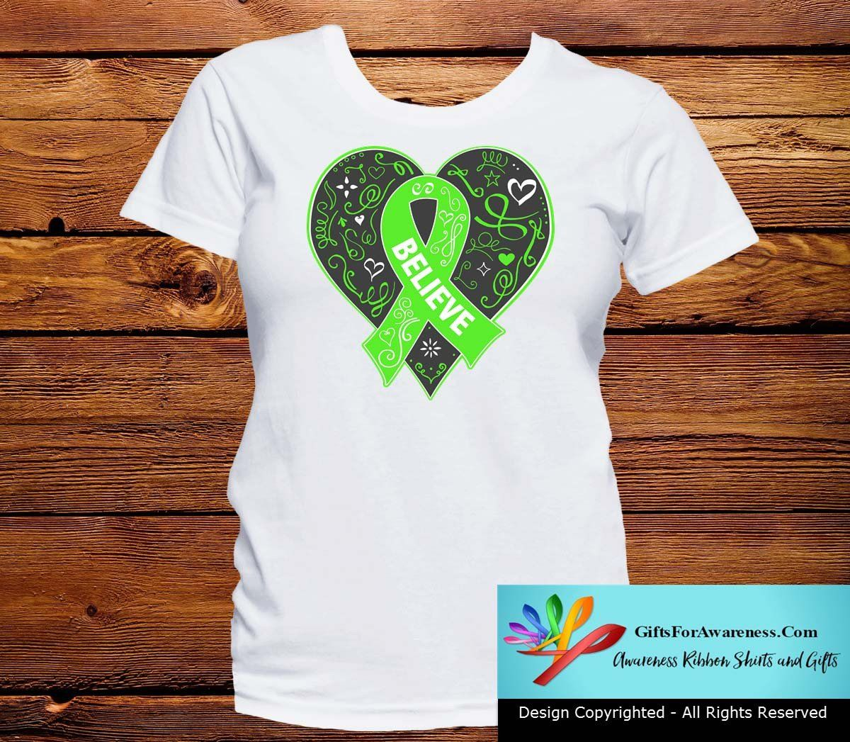 Believe Non-Hodgkin's Lymphoma shirts featuring a beautiful, whimsical heart design and elements spotlighting a lime green ribbon for awareness by GiftsForAwareness.Com.