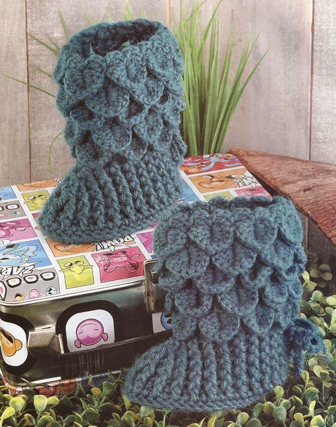 Boticas en punto de cocodrilo a Crochet | Cosas para ponerme ...