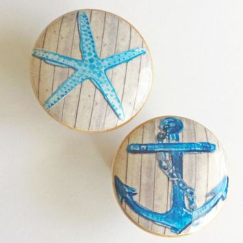 Nautical Knob Drawer Pulls, Blue StarFish or Anchor Cabinet Pull ...