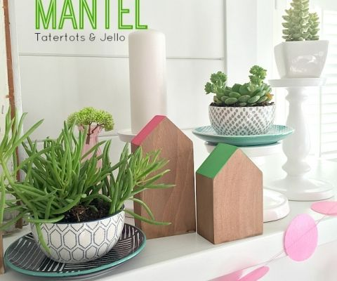 spring colorful blocks mantel