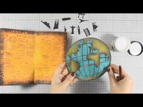Travel Themed Art Journaling Tutorial with Vicky Papaioannou | Distress paint background, Archival Ink, Amazing shading