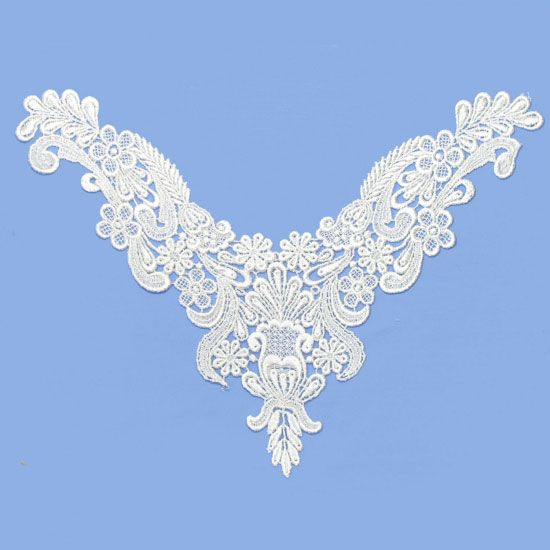 Ivory guipure lace neckliner motif, $6.00 each. http://www.alacraft.com.au/ivory-guipure-lace-neckliner-motif-176.    Stitch or sew on. Ideal for decorating clothing especially for tops when the neckline is too low. Can also be used as a base embellishment for wedding dresses, costumes and dance wear.