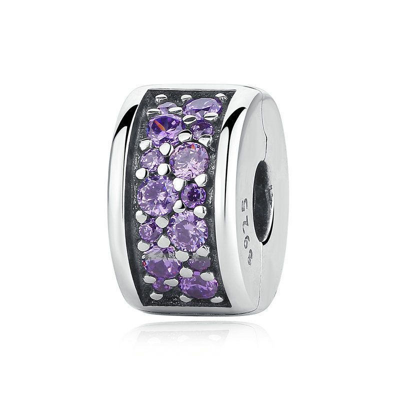 Bamoer Shine European S925 Sterling Silver charm With Blue CZ Star fit Bracelets