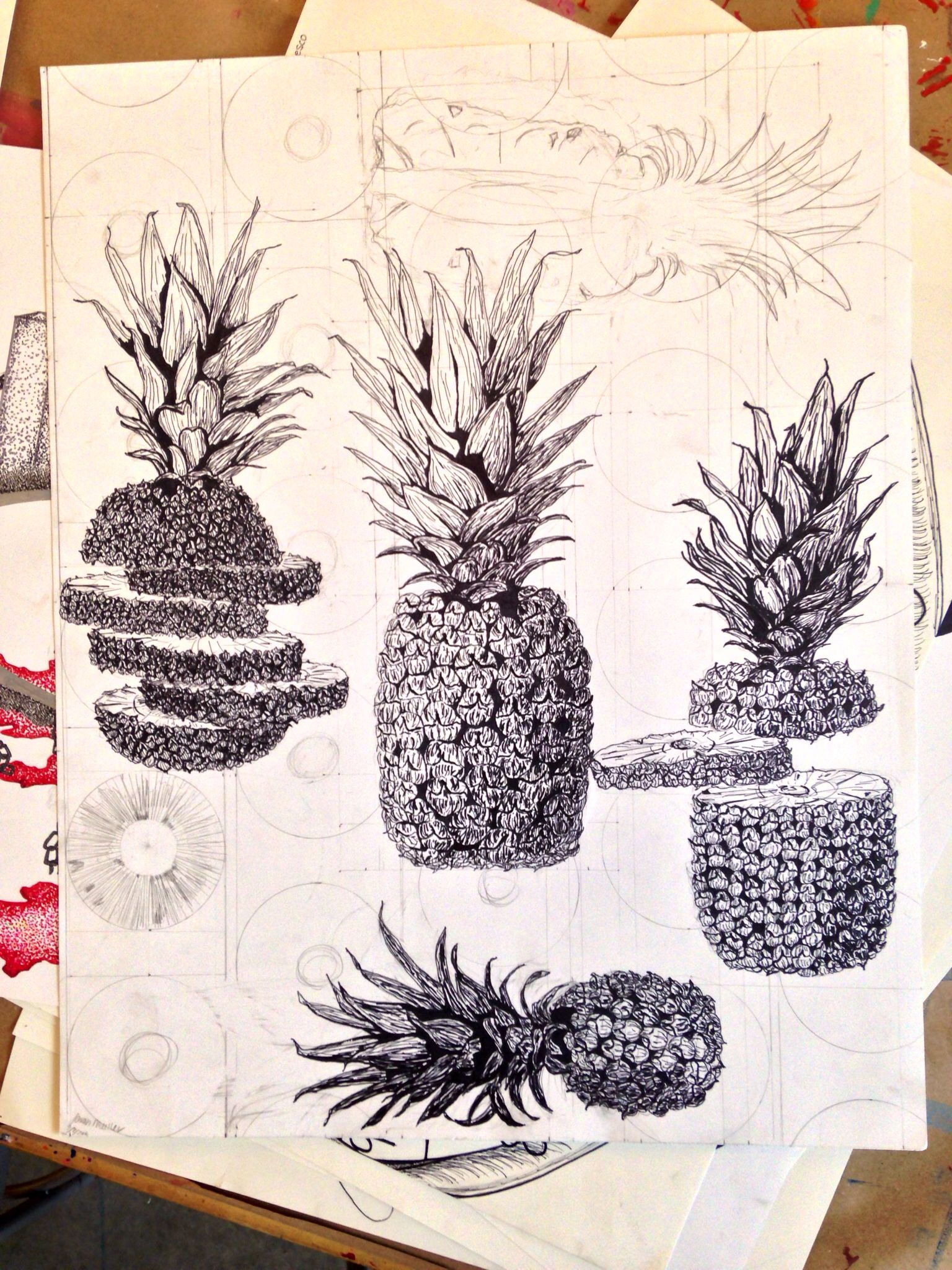 realistic pineapple drawing. my #pineapple #pineapples #negativespace #ink #pencil #drawing #linear # realistic pineapple drawing ,