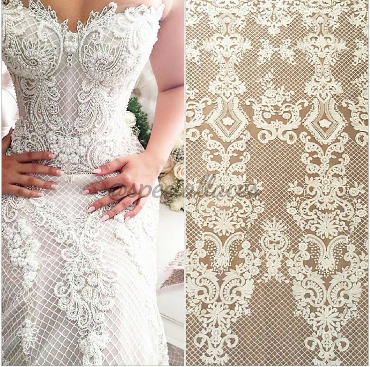 Fashion White Lace Fabric Cotton Embroidery Chantilly French Tulle Bridal By Annabellediy On Etsy