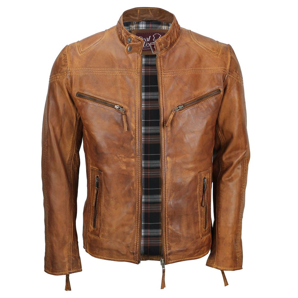 Details about Mens Fitted Tan Brown Real Leather Biker