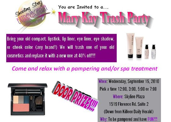 Mary Kay Trash Party Invitation Different looks using eyeshadow in – Mary Kay Party Invitation