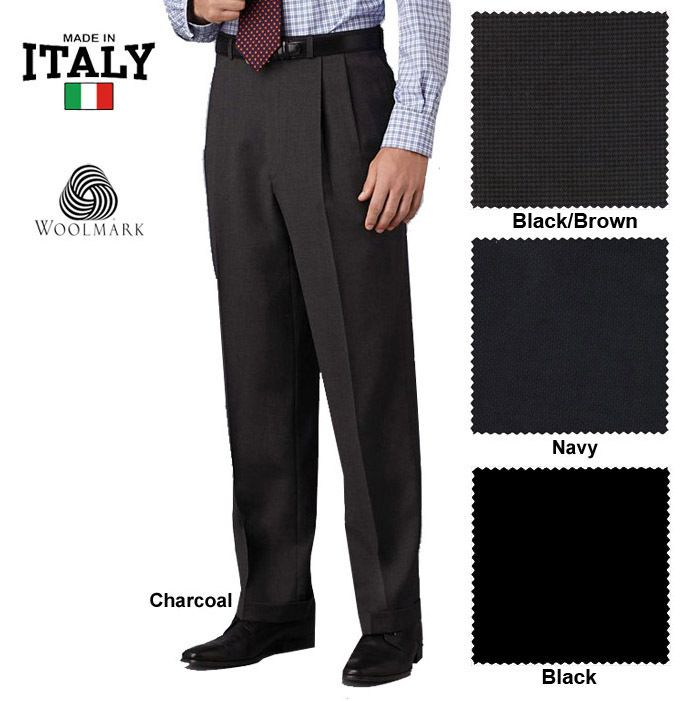 Kirkland Signature Men's Gabardine Wool Pleated Cuffed Dress Pants Slacks  Italy