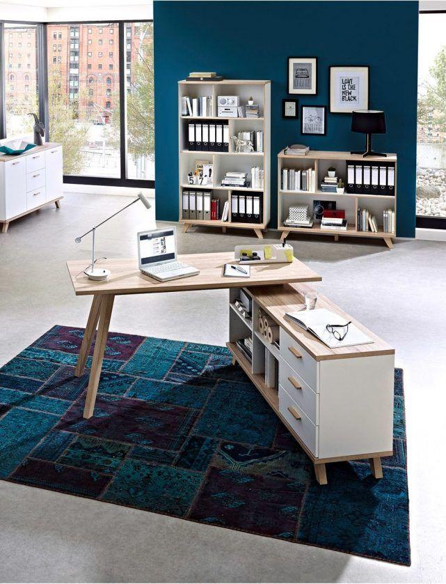 Coin Bureau Bureau D Angle Scandinave Bois Clair Blanc Avec Casses Casier Et Rangement Modern Computer Desk Home Office Interior Design
