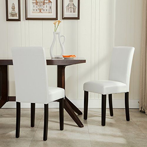 Belleze Set Of 2 Furniture Urban Style Leatherette Padded Solid Wood Parson  Chair White U003eu003e