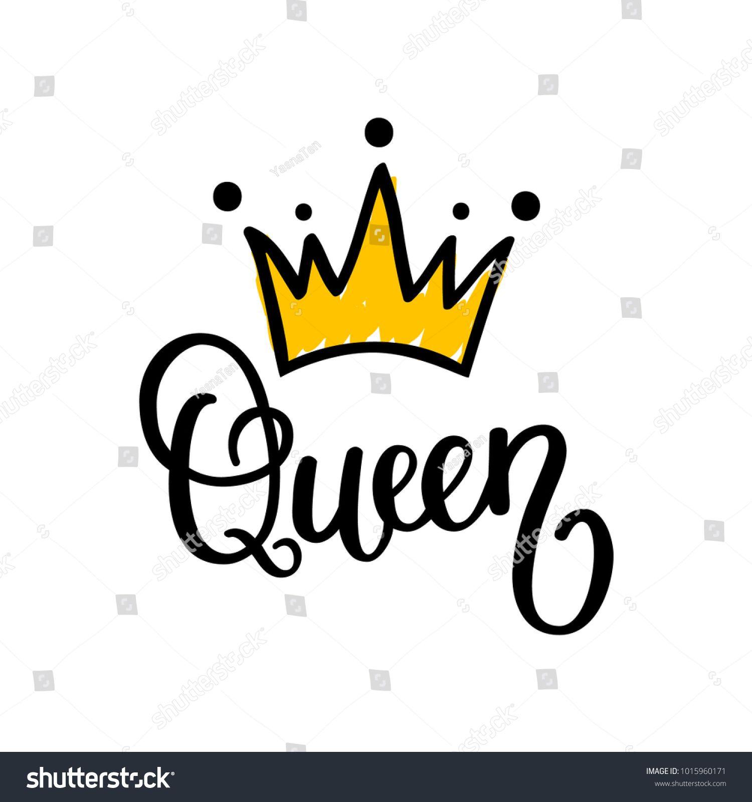 Queen Crown Vector Calligraphy Design Funny Poster Queen Wallpaper Crown Queens Wallpaper Queen Images