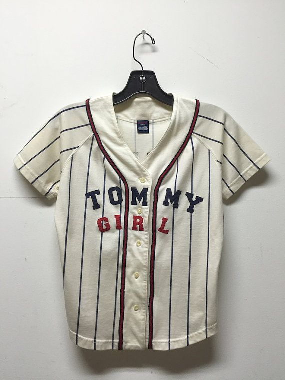 e96faa34 Tommy Hilfiger shirt, top, basebally jersey, 90s vintage Tommy Girl striped  baseball shirt # 45, womens medium m