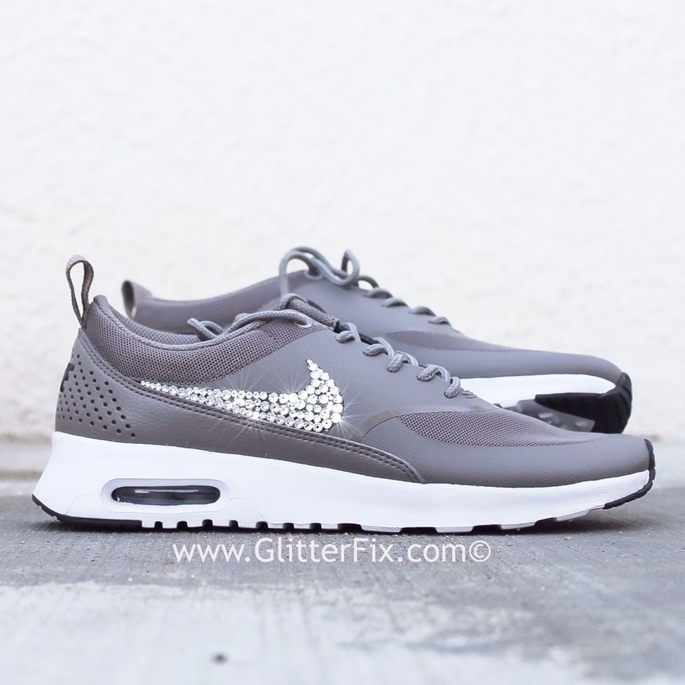 28170d0f700b Brand new customized pair of Nike Air Max Thea Premium with Swarovski  crystals. - Crystals on outside Nike swoosh only  Due to the fact every  crystal is ...
