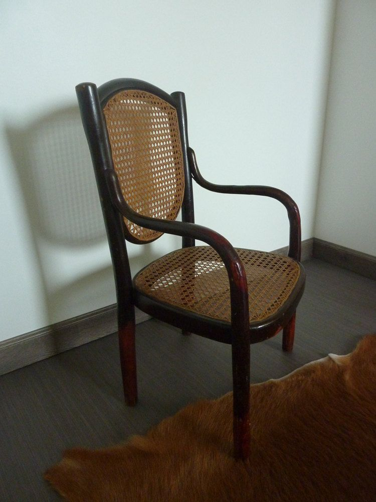 Child Chair Bentwood And Caning Type THONET FISCHEL KOHN, 1930s Vintage
