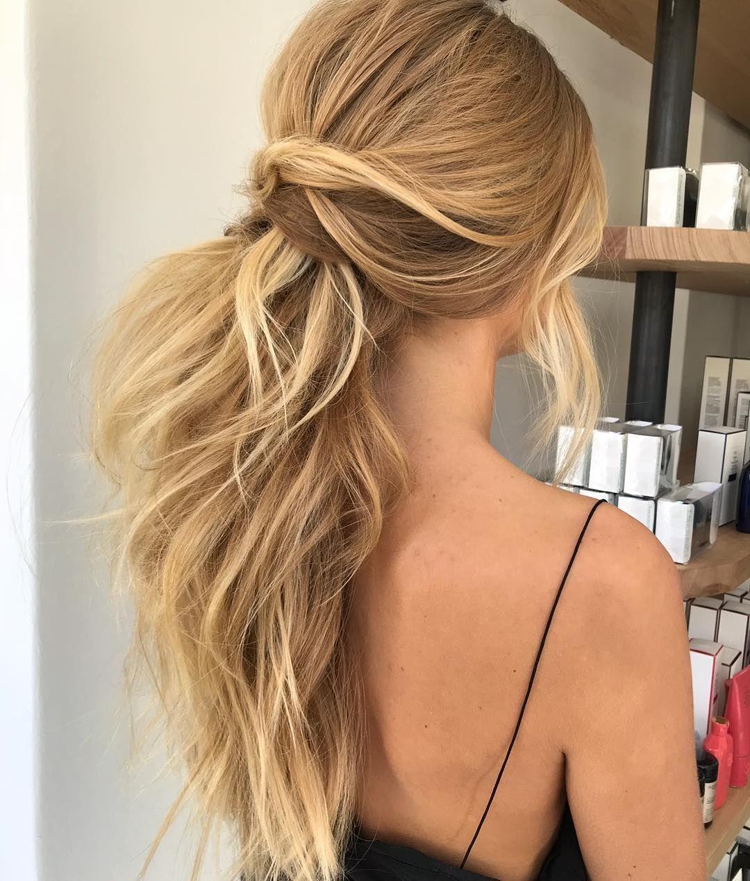 textured ponytail hairstyle   Макияжи и причоски   wedding