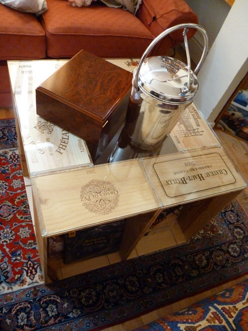 easy diy coffee table from wine crates | wine crate coffee table