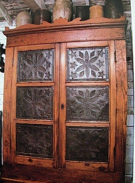 Old Prim Pie Safe...with Punched Tin Doors And Crocks On Top.