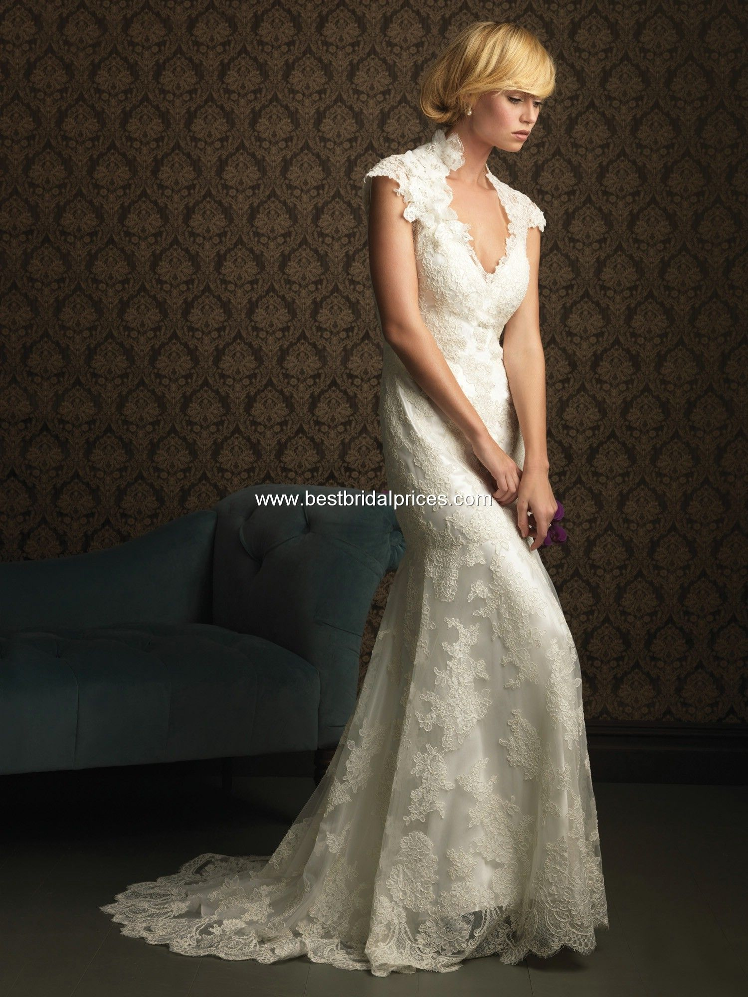 Short lace wedding dress with train  Allure Wedding Dresses  Style    Wedding Dresses