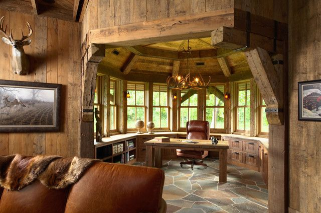 Luxury Office Decorating Ideas For Main Design Of Working Place Old Fashioned Rustic Themed Office Decor Rustic Home Offices Rustic House European Style Homes