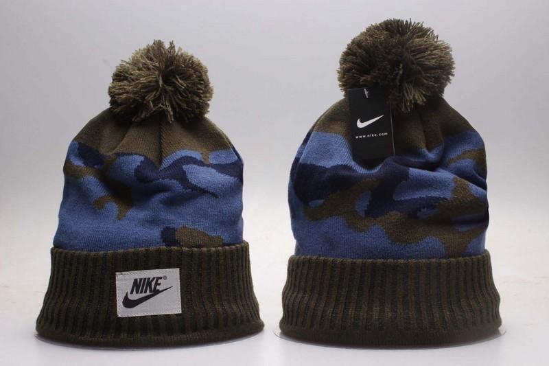 3b90402c04363 Men s   Women s Nike Corporate Logo Tag Sewn NSW Camo Knit Pom Pom Beanie  Hat - Khaki