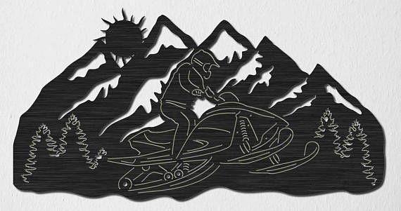 Snowmobile Riding and Mountains View sceneDXF files cut
