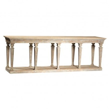 Coruna Console in Soft Distressed Finish $2,585.00 #thebellacottage #shabbychic