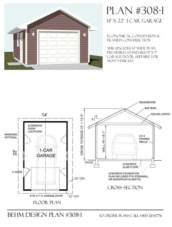 1 Car Garage Plan No 308 1 By Behm Design Garage Plans Garage Plan Car Garage